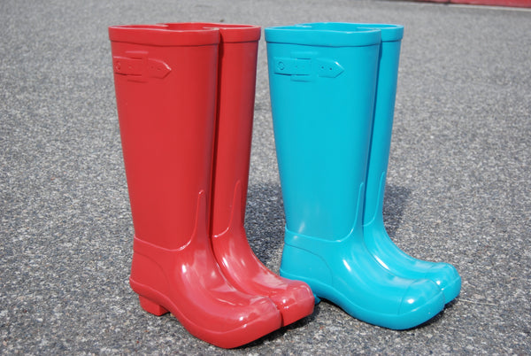 Red/Blue Unique Solid Resin Boot Umbrella Holder Stand L 11'' W 7.5'' H 17''
