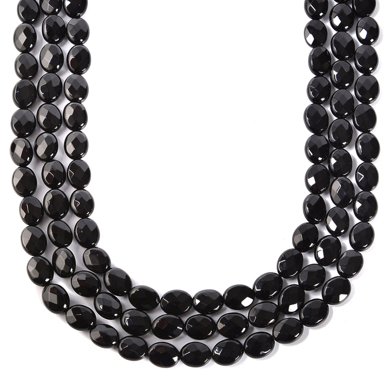 Black Onyx Faceted Oval Shape Beads Size 6x8mm 8x10mm 15.5'' Strand