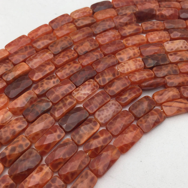 fire agate faceted flat rectangle cylinder tube beads