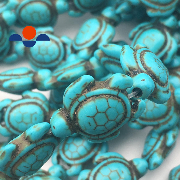 hole blue or white howlite turquoise turtle beads