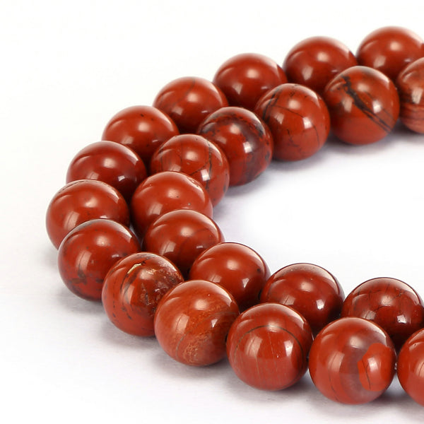 natural red poppy jasper smooth round bracelet