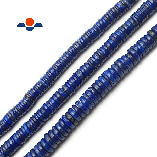 "Lapis Lazuli Irregular Smooth Rondelle Beads 2x8mm 3x10mm 15.5"" Strand"