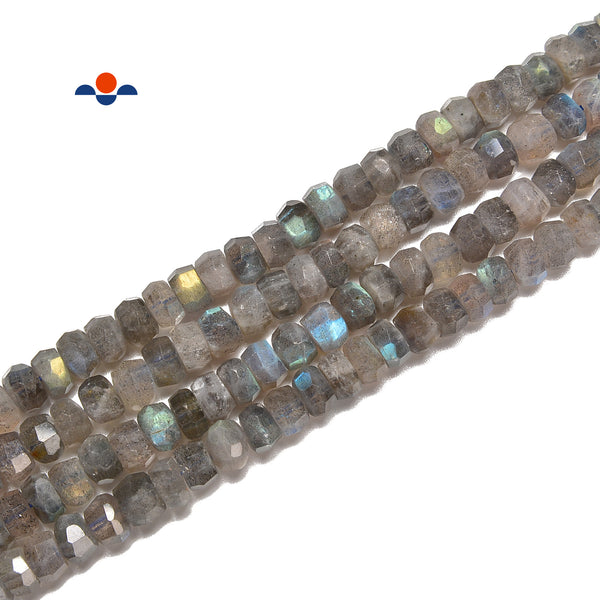 "Labradorite Faceted Irregular Nugget Rondelle Beads 5x7mm 6x9mm 15.5"" Strand"