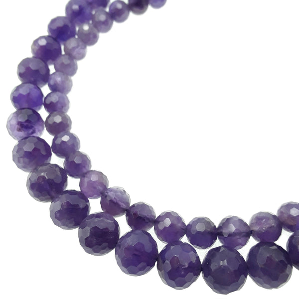 amethyst faceted hard cut round beads