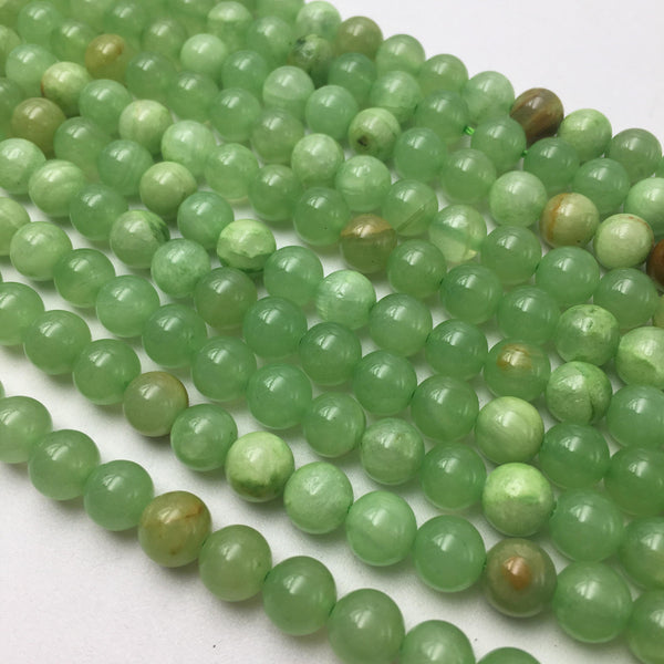 green flower jade smooth round beads