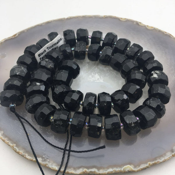 black tourmaline faceted rondelle beads