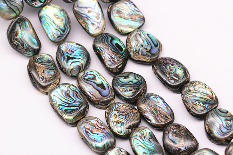 "Abalone Irregular Rectangle Shape Approx 15x20mm 18x25mm 20x30mm 15.5"" Strand"