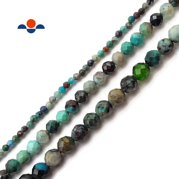 "Natural Chrysocolla Faceted Round Beads 2mm 3mm 4mm 5mm 15.5"" Strand"