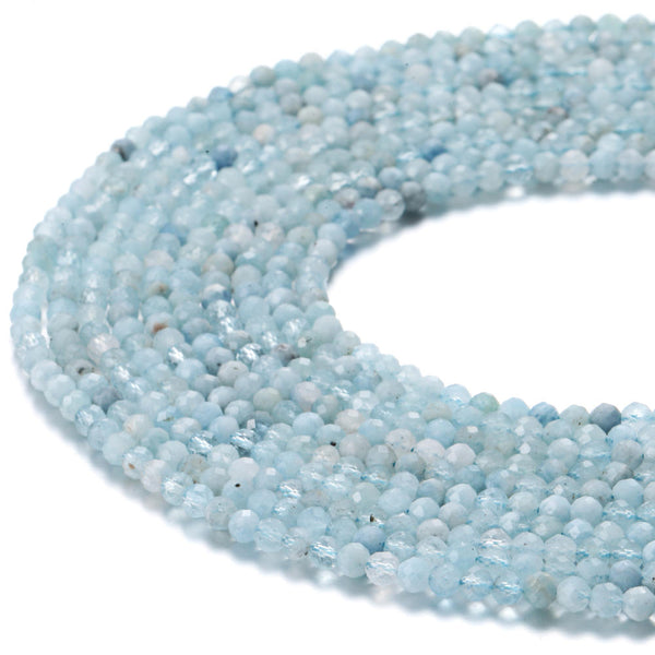 natural aquamarine faceted round beads