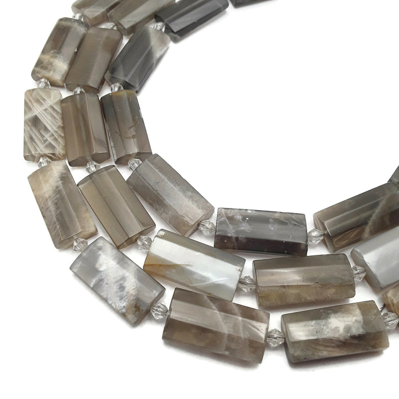 "Gray Moonstone Faceted Flat Rectangle Cylinder Tube Beads 14x28mm 15.5"" Strand"