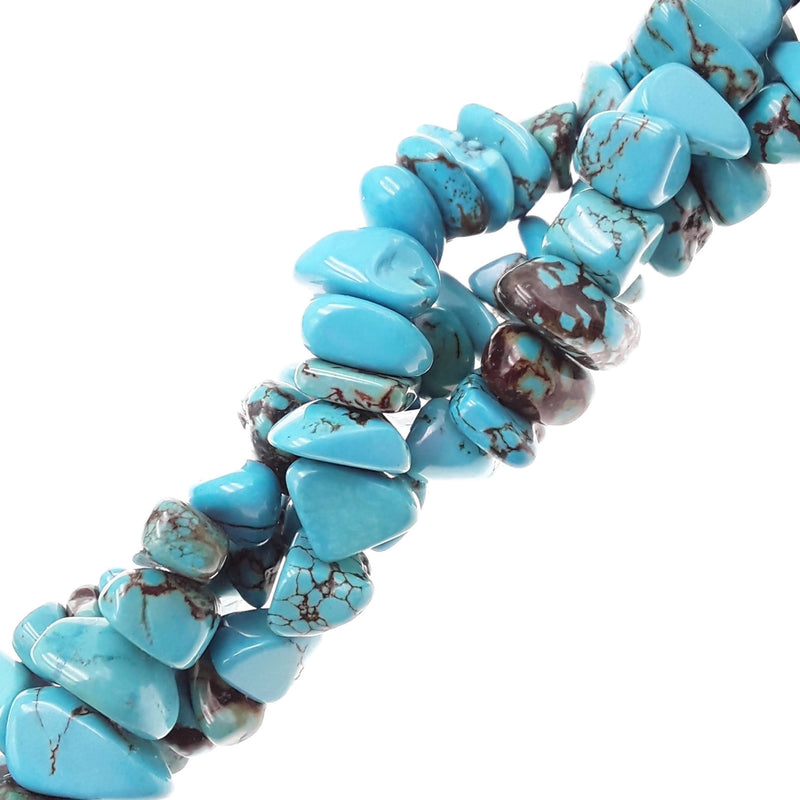 blue magnesite turquoise irregular pebble nugget chips beads