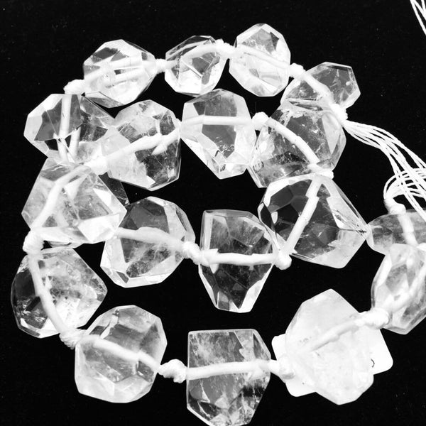 clear quartz graduated faceted nugget chunk beads