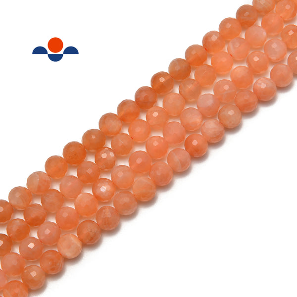 natural orange moonstone faceted round loose beads