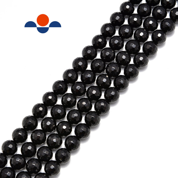 black onyx faceted round beads