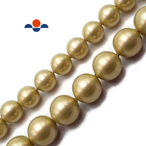"Gold Tan Shell Pearl Smooth Round Beads Size 8mm 10mm 15.5"" Strand"
