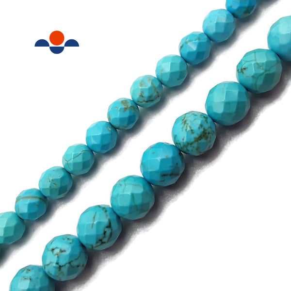 "Blue Turquoise Faceted Round Beads Size 6mm 8mm 15.5"" Strand"