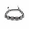 "Silver Hematite Pyramid Bracelet Size 8mm Macrame Adjustable 7.5"" Length"