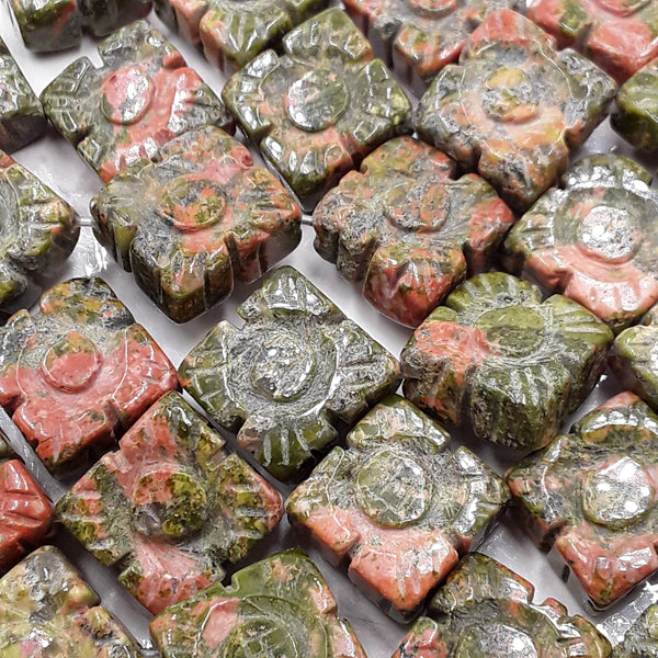 unakite hand carved square beads