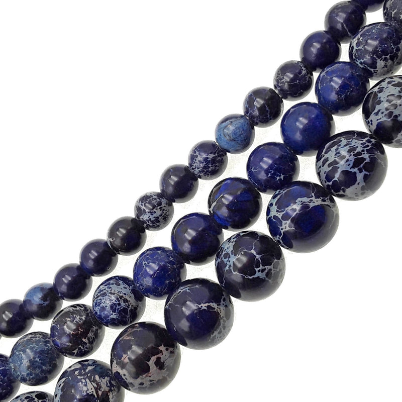 "2.0mm Hole Blue Sea Sediment Jasper Smooth Round Beads 6mm 8mm 10mm 15.5"" Strand"