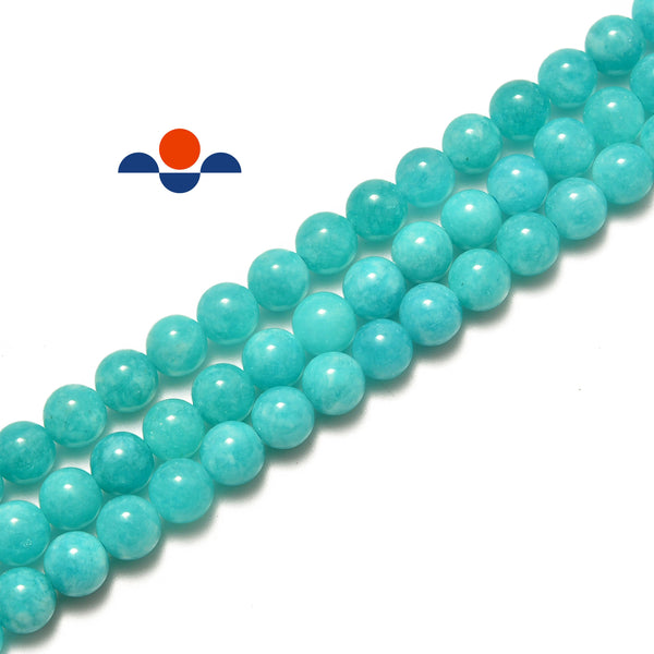 teal blue dyed jade smooth round beads