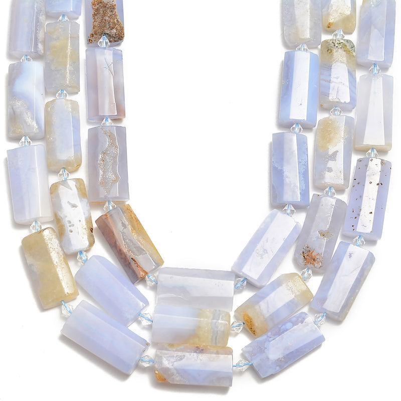 blue lace agate faceted flat rectangle cylinder tube beads