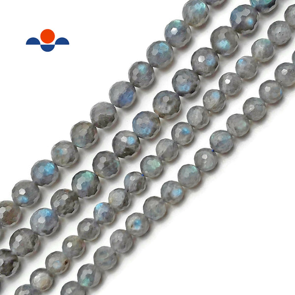 "Natural Labradorite Hard Cut Faceted Round Beads 6mm 7mm 8mm 10mm 15.5"" Strand"