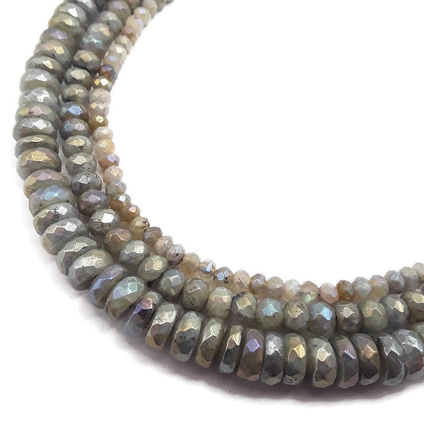 rainbow coated labradorite faceted rondelle beads