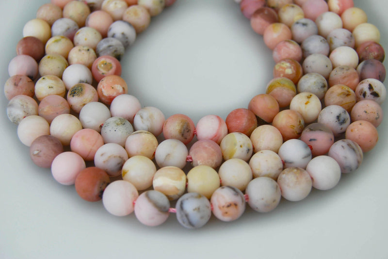 "2.0mm Hole Pink Opal Matte Round Beads 8mm 10mm 15.5"" Strand"