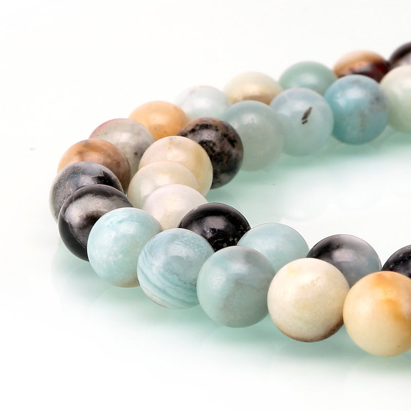 multi color amazonite smooth round beads