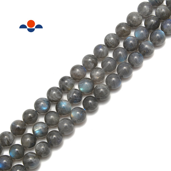 Natural Gray Labradorite Smooth Round Beads 6mm 8mm 10mm 15.5'' Strand