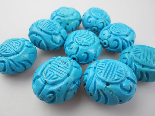 blue turquoise hand carved oval shape beads