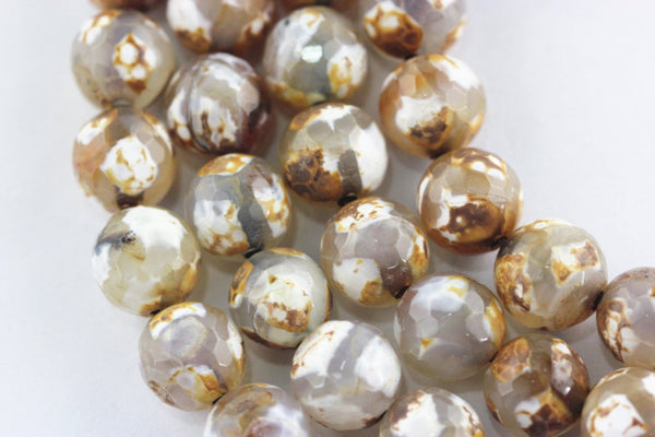 brown white tri Striped tibetan agate faceted round beads