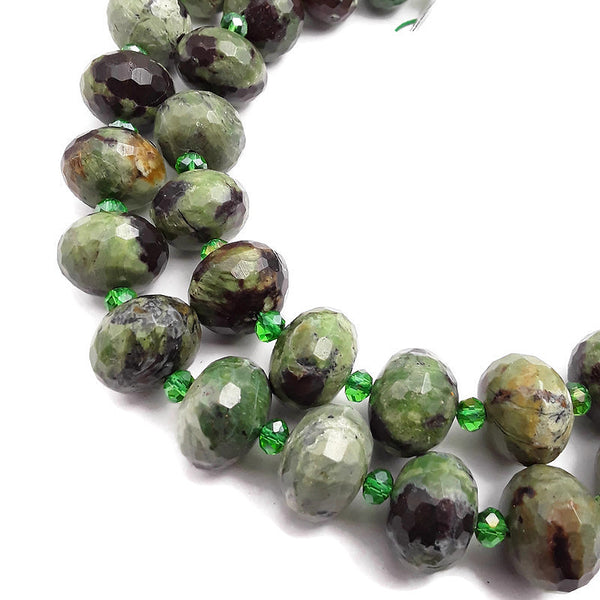 green opal large faceted rondelle beads