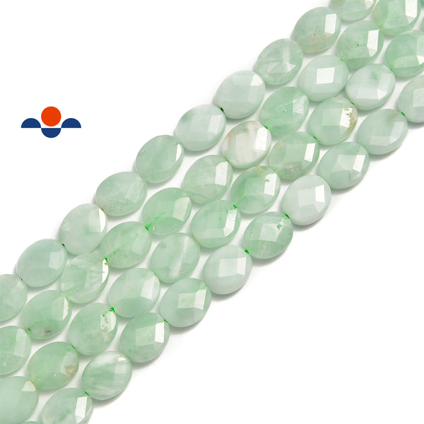 green moonstone faceted oval beads