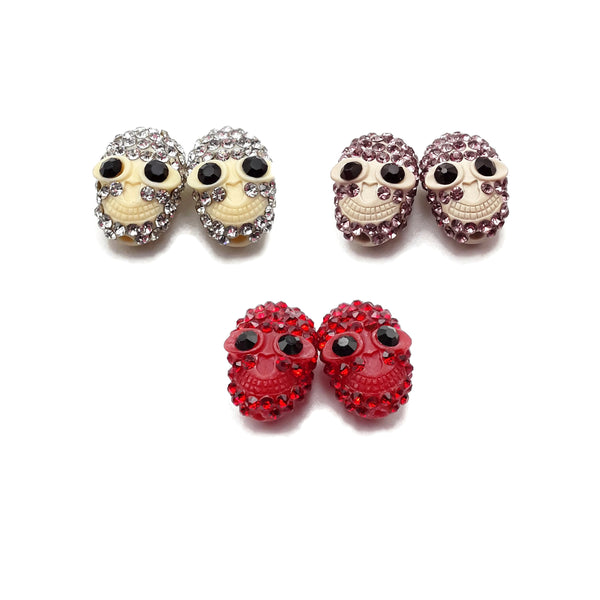 Resin with Rhinestone Skull Pendant Charm 11x16mm Sold Per Pair