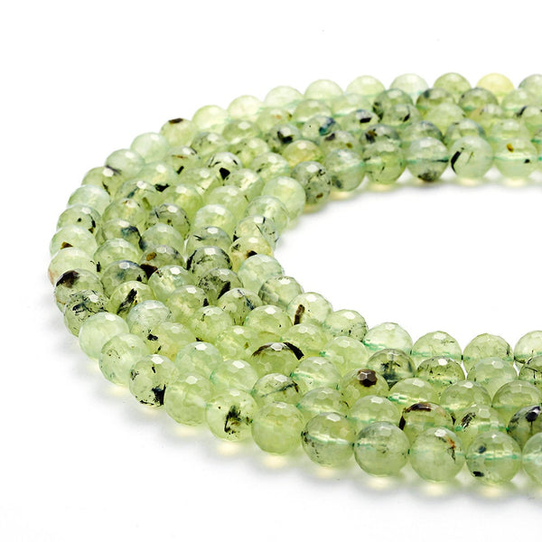 natural prehnite faceted round beads