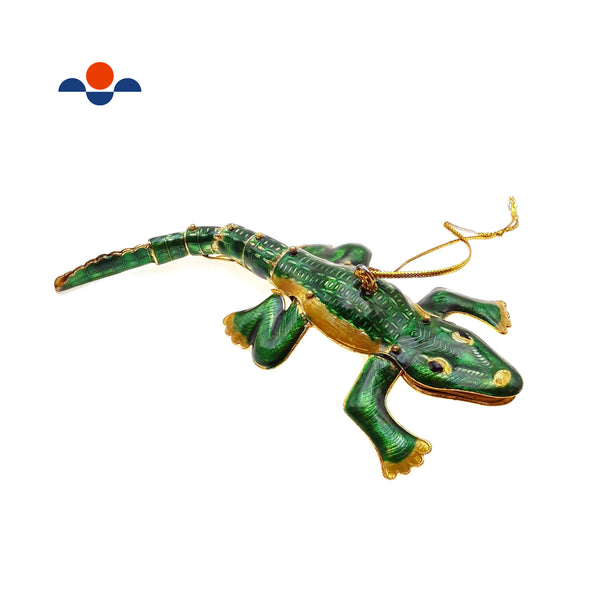 "Cloisonne Christmas Tree Ornament Wiggling Alligator Decoration 6"" Inches Long"