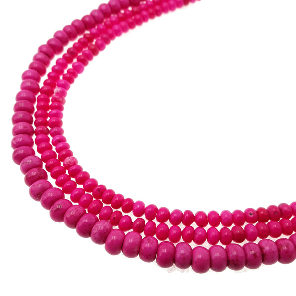 pink magnesite turquoise smooth rondelle
