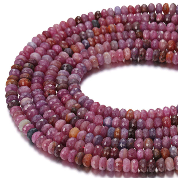 "Natural Ruby Faceted Rondelle Beads Size 3x8mm 4x7mm 5x9mm 15.5"" Strand"