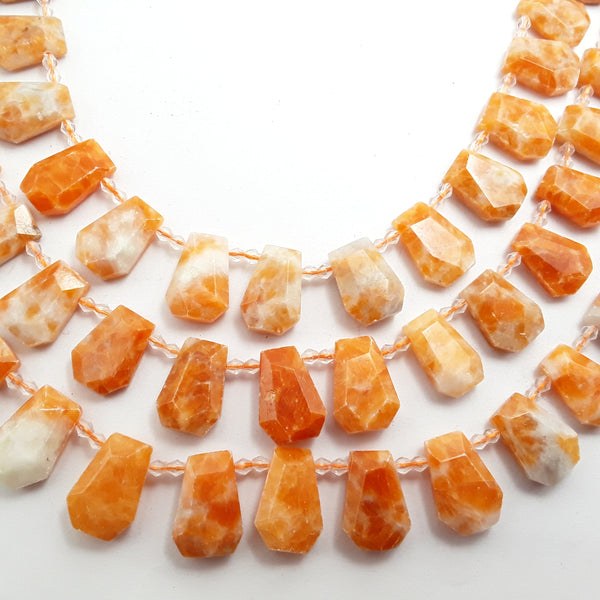 sunstone graduated faceted trapezoid beads
