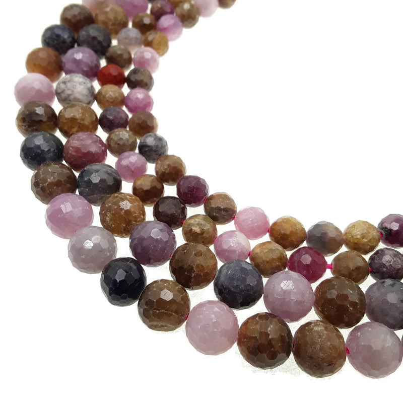 genuine ruby sapphire faceted round beads