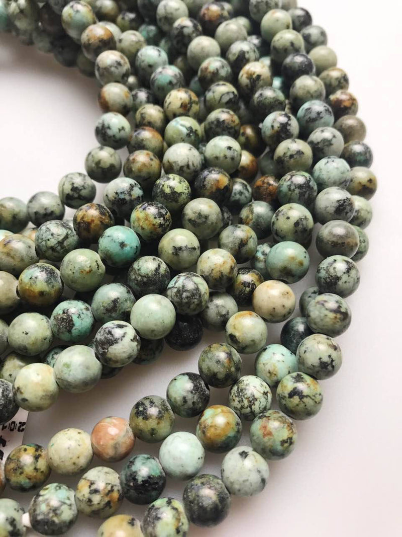 "2.0mm Hole African Turquoise Smooth Round Beads 8mm 10mm 15.5"" Strand"