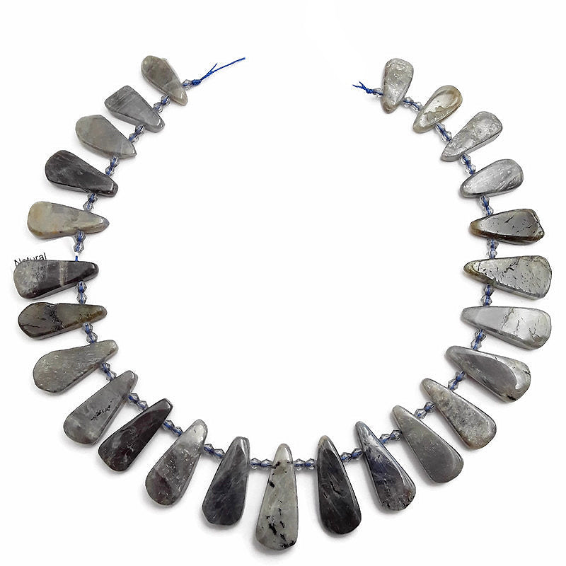 labradorite graduated smooth flat teardrop beads