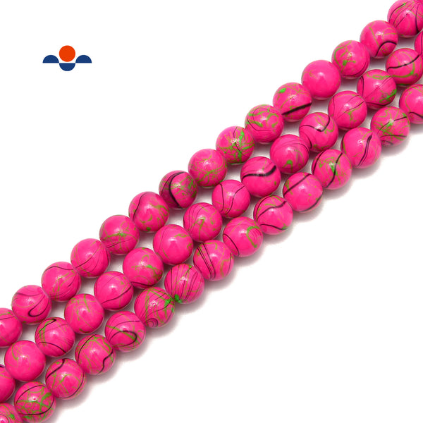 "Hot Pink Glass Green Splash Painted Smooth Round Beads 6mm 8mm 10mm 15.5"" Strand"