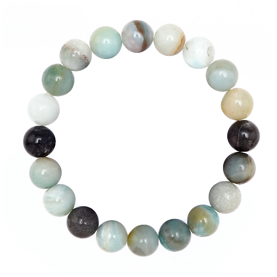 Multi-color Amazonite Smooth Round Elastic Bracelet Size 4mm 8.5-9mm 7.5''Length