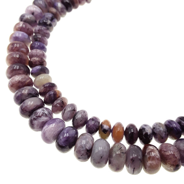 natural charoite smooth rondelle beads