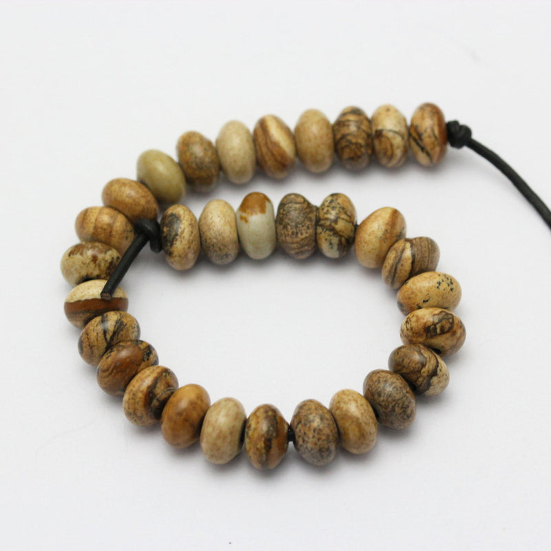 "2.0mm Hole Picture Jasper Smooth Rondelle Beads 5x8mm 6x10mm 8"" Strand"