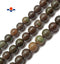 "Brown Green Geothite Chrysoprase Smooth Round Beads 12mm 15.5""Strand"