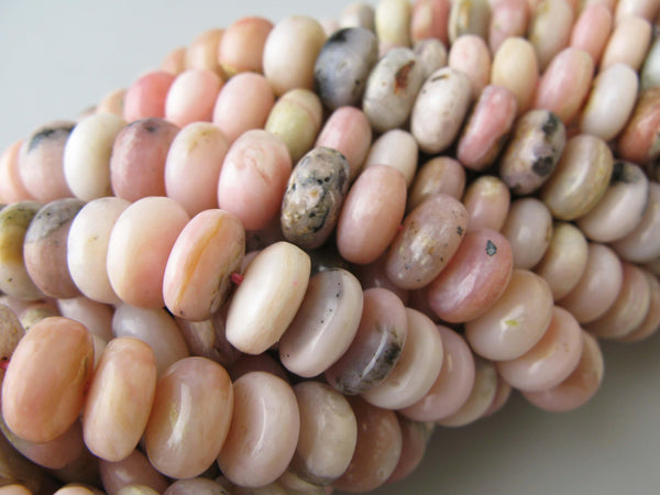natural pink opal smooth rondelle beads