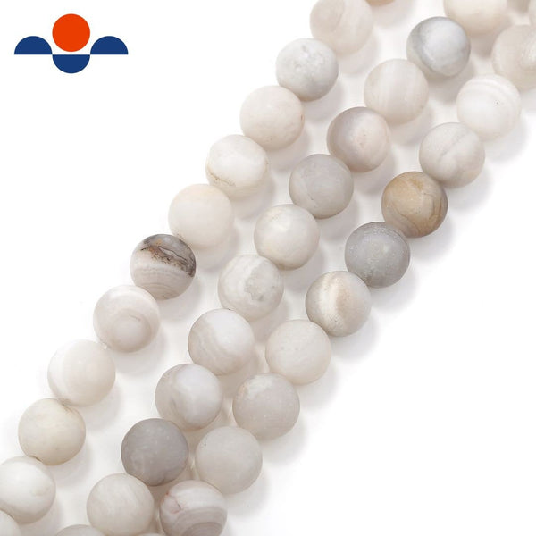 white agate matte round beads